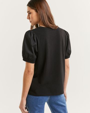 Short Puff Sleeve Crew Neck Top