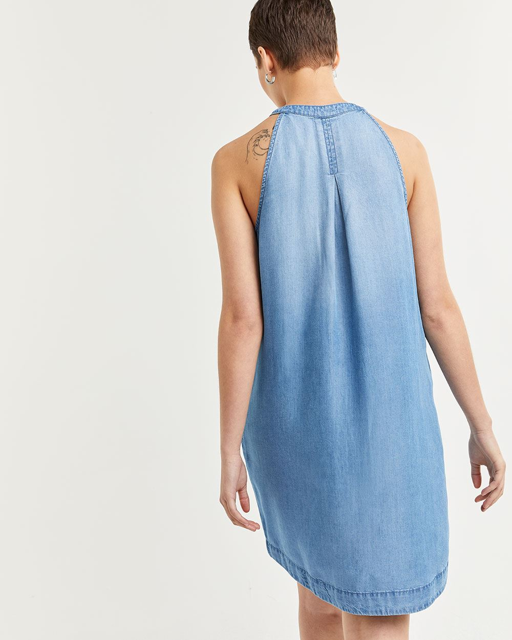 Halter Neck Sleeveless Tencel Dress