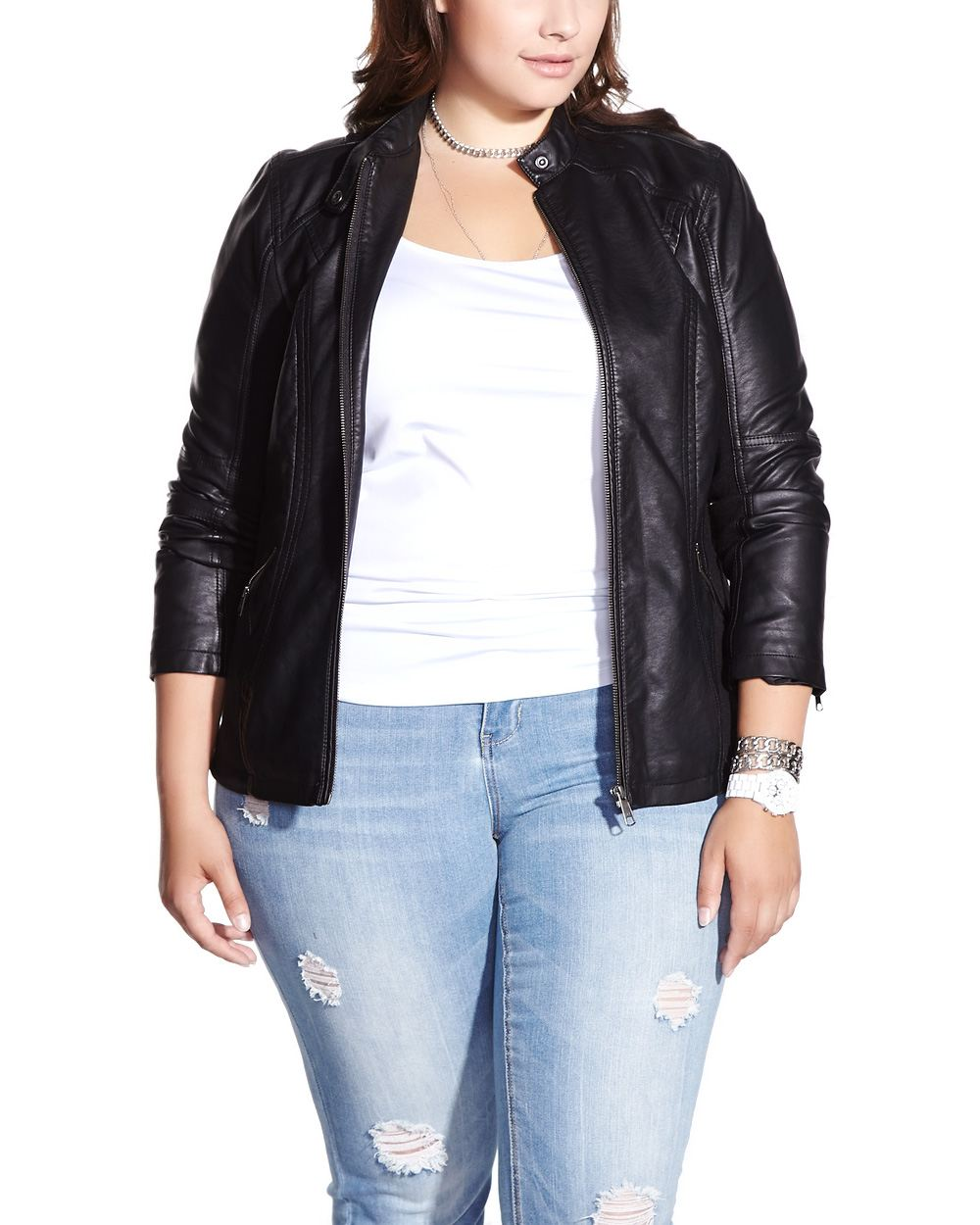 Plus Size Faux Leather Jacket | Plus Sizes | Reitmans