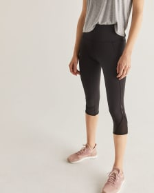 Legging noir capri à insertion de mailles Hyba