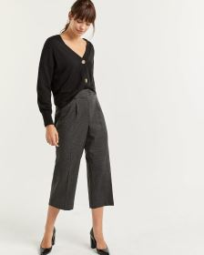 Houndstooth Wide Leg Cropped Pleated Pants