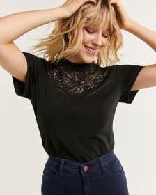 Short Sleeve Mock Neck Top with Lace