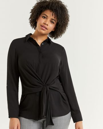 Tie-Front Shirt Collar Blouse