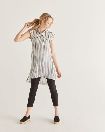 Striped Cap Sleeve High-Low Tunic
