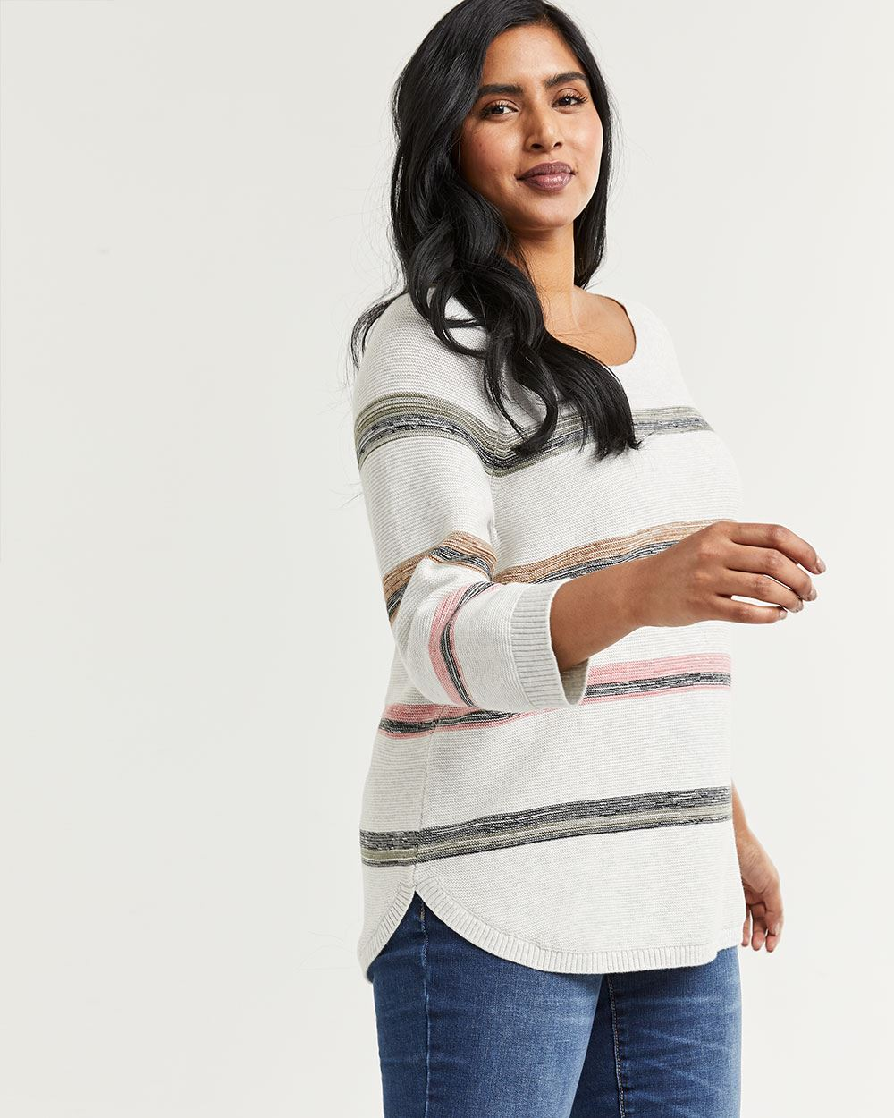 Striped 3/4 Sleeve Boat Neck Sweater