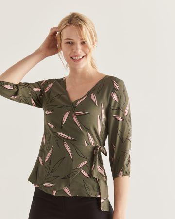 3/4 Sleeve Printed Wrap Blouse