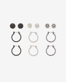 6-Pair Set Hoop and Studs Earrings