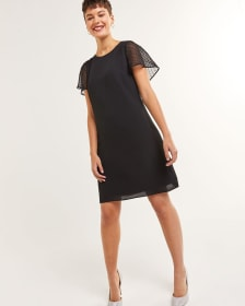 Short Flutter Sleeve Mix Media Dress