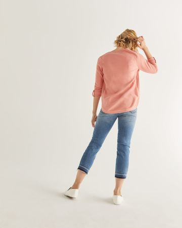 V-Neck Cotton Sweater - Petite