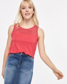 Crochet Yoke Sleeveless Top