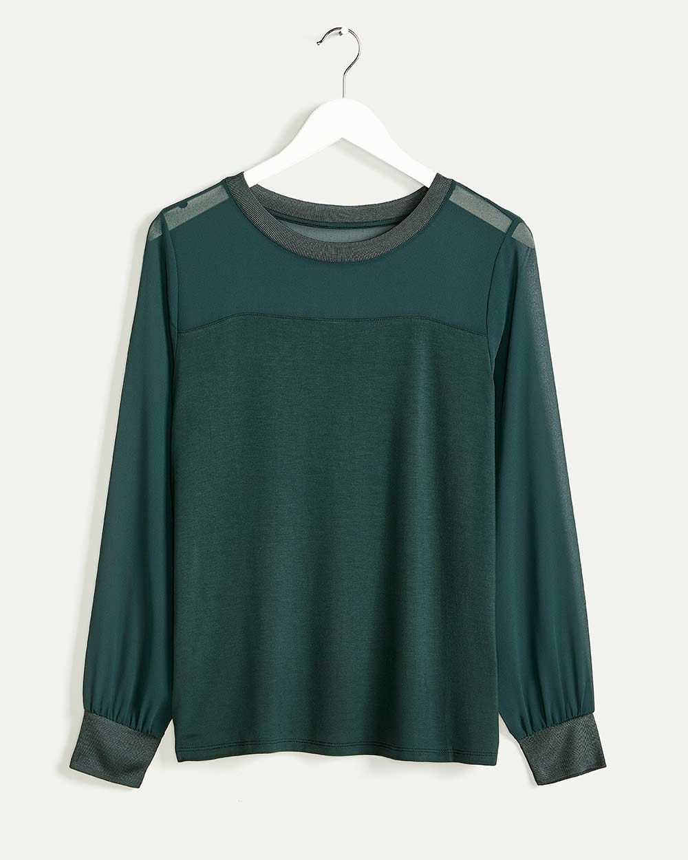 Long Sleeve Mix Media Tee - Petite