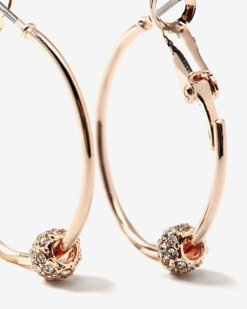 Rhinestone Bead Hoop Earrings