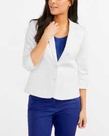 ¾ Sleeve Cotton Blend Blazer