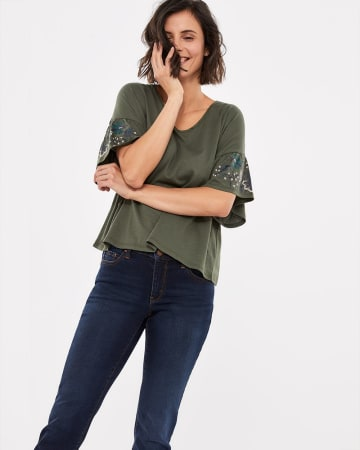 Drop Shoulder Sleeve Top with Bow