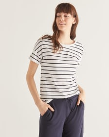 Striped Cotton-Blend Drop Shoulder Tee