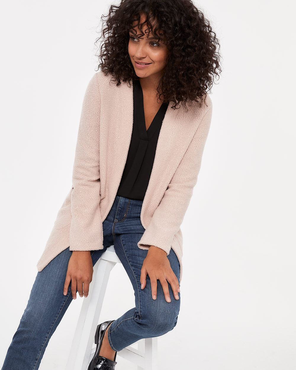 Solid Structured Open Cardigan