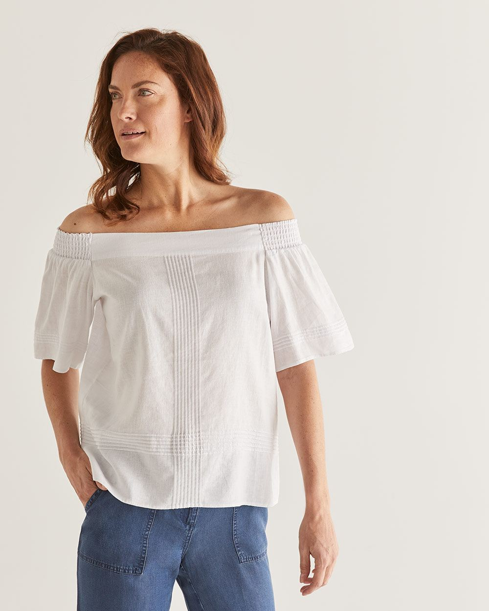 Linen-Blend Off-the-shoulder Blouse