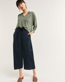 Pull On Knit Wide Cropped Pants - Petite