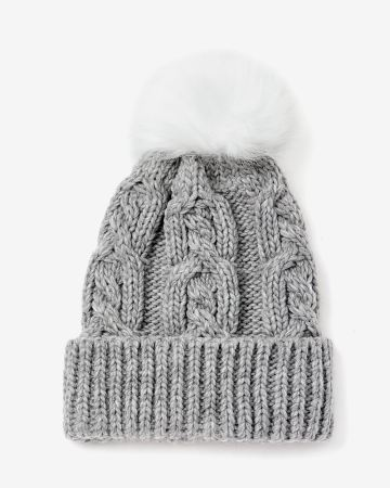 Cable Hat with Faux Fur Pompom 127a699a62