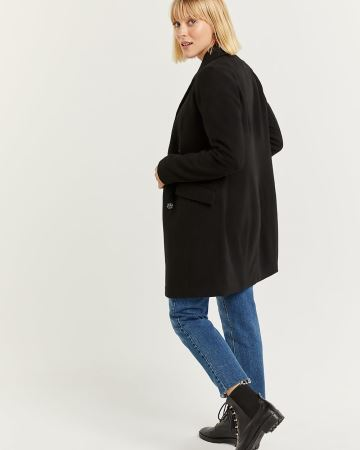 Tailored Collar Black Wool-Blend Peacoat