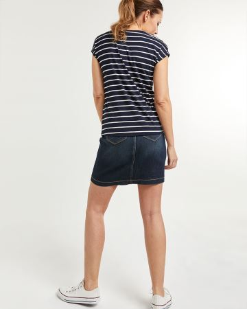 Striped Short Sleeve Tee with Front Knot - Petite