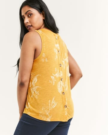 Sleeveless Back Button Printed Tank
