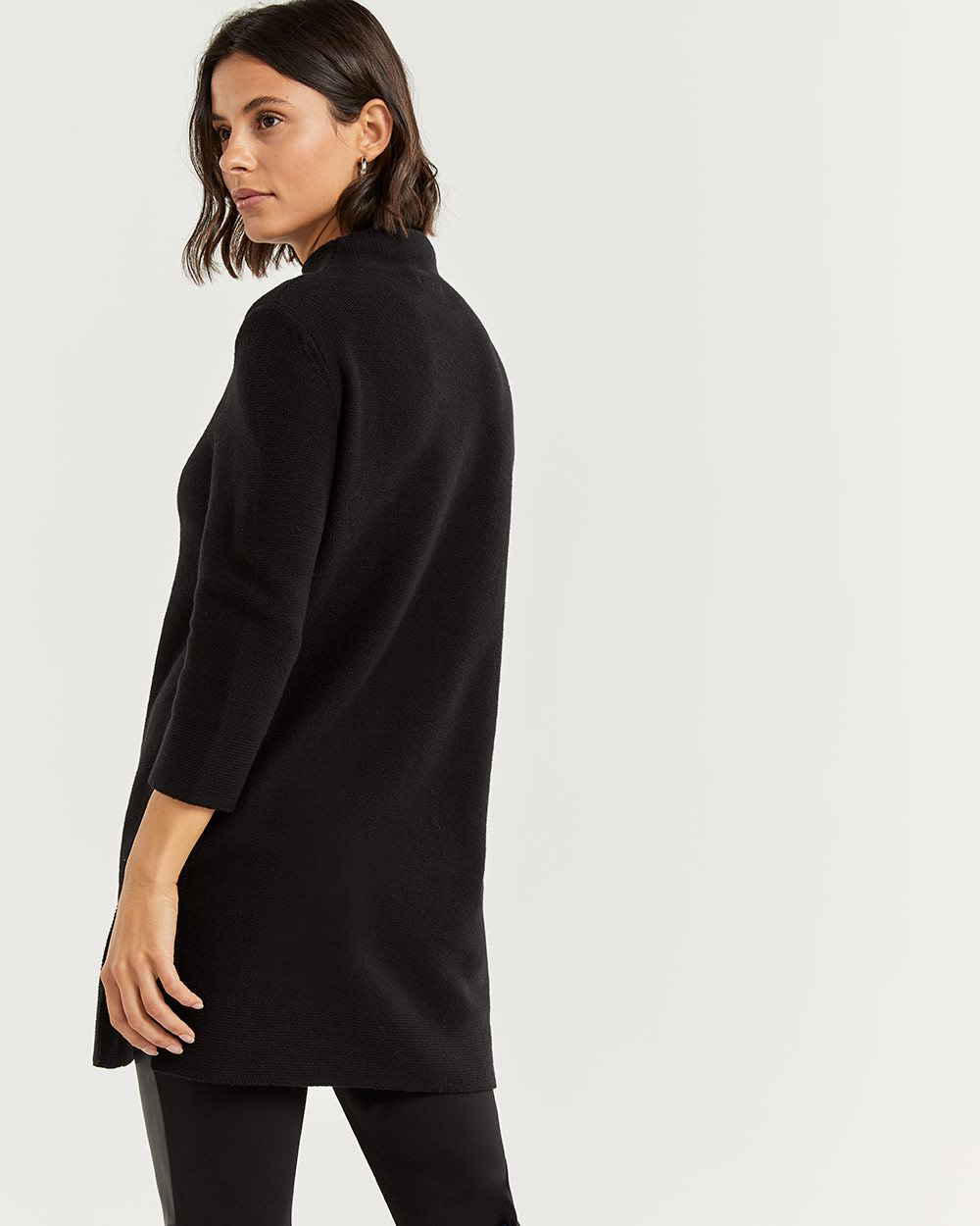 3/4 Sleeve Mock Neck Tunic with Embroidery