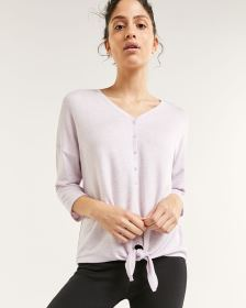 3/4 Sleeve Henley Top with Knot Hyba