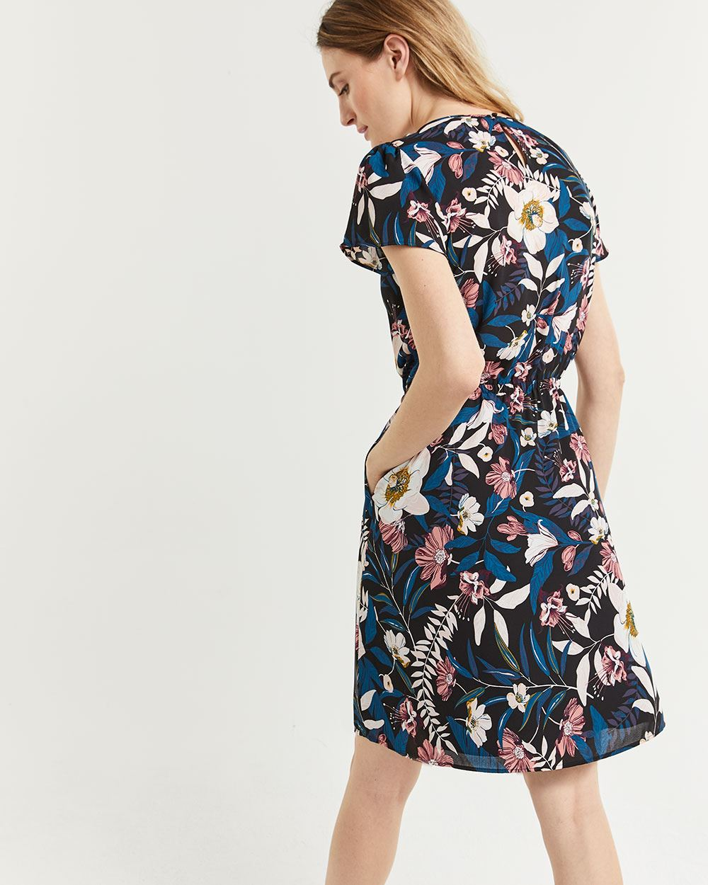 Flutter Sleeve Elastic Waist Printed Dress with Pockets