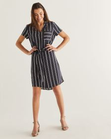 Stripe Print Shirt Dress