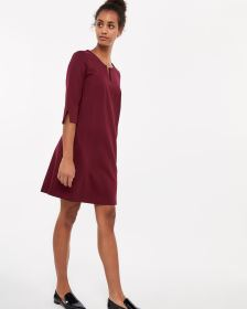 3/4 Sleeve Split Neck Dress