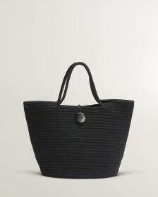 Black Weaved Cotton Bag