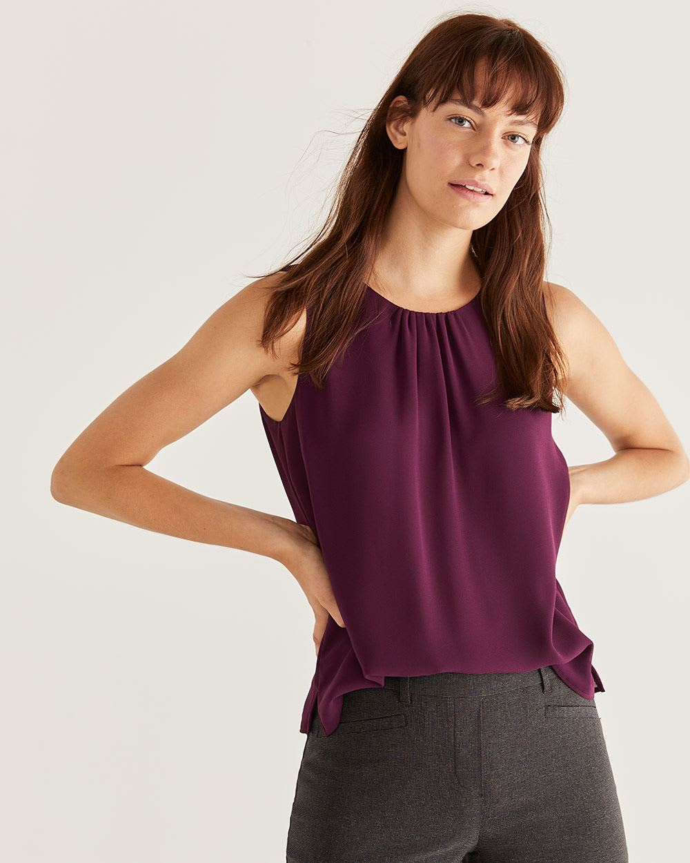 Sleeveless Chiffon Blouse with Back Tie
