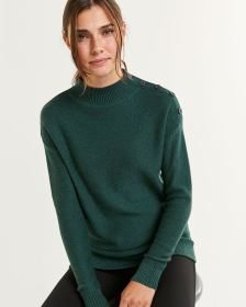 Long Sleeve Mock Neck Sweater with Buttons