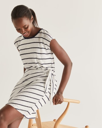Stripe Knotted Shift Dress