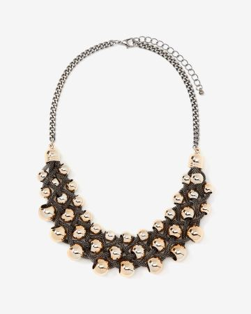 2-tone Twisted Mesh Chains & Beads Necklace