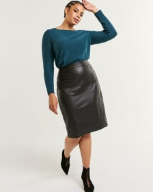 Faux Leather High Rise Pencil Skirt