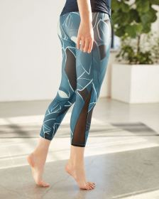 Cropped Printed Leggings with Mesh Inserts Hyba