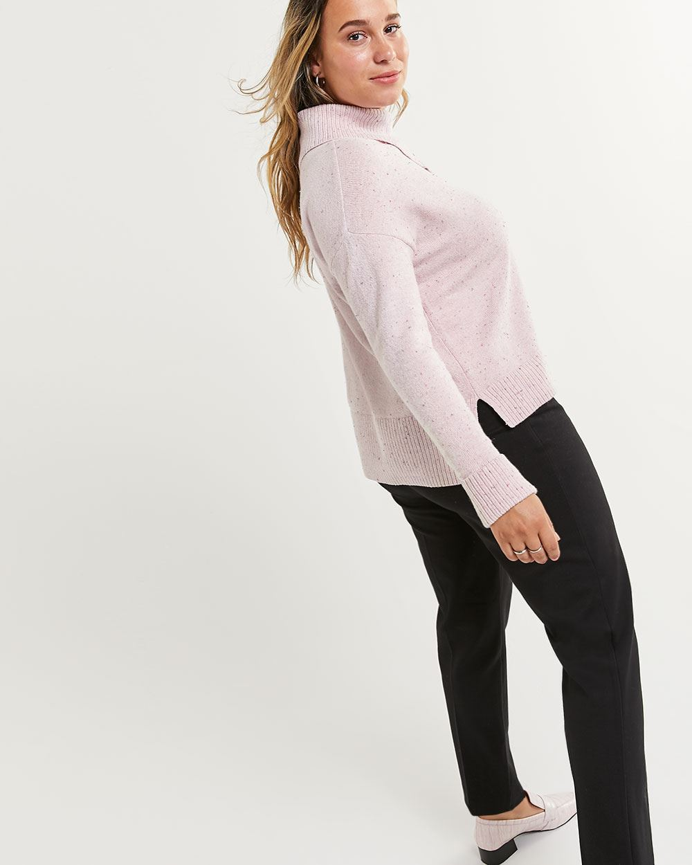 Split Turtleneck Sweater with Decorative Buttons