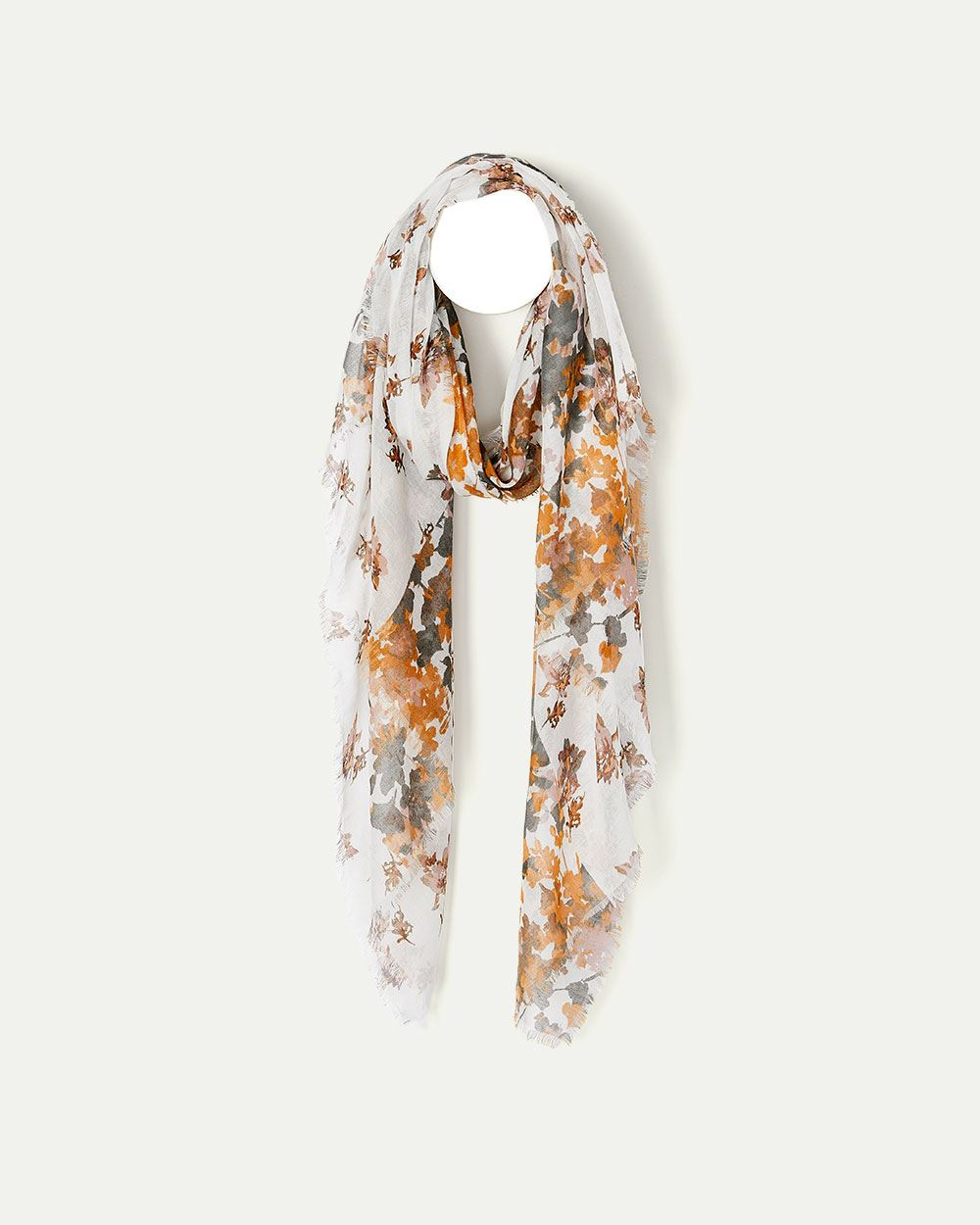 Yellow Floral Print Oblong Scarf