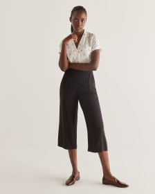 Black Wide Cropped Pull On Pants