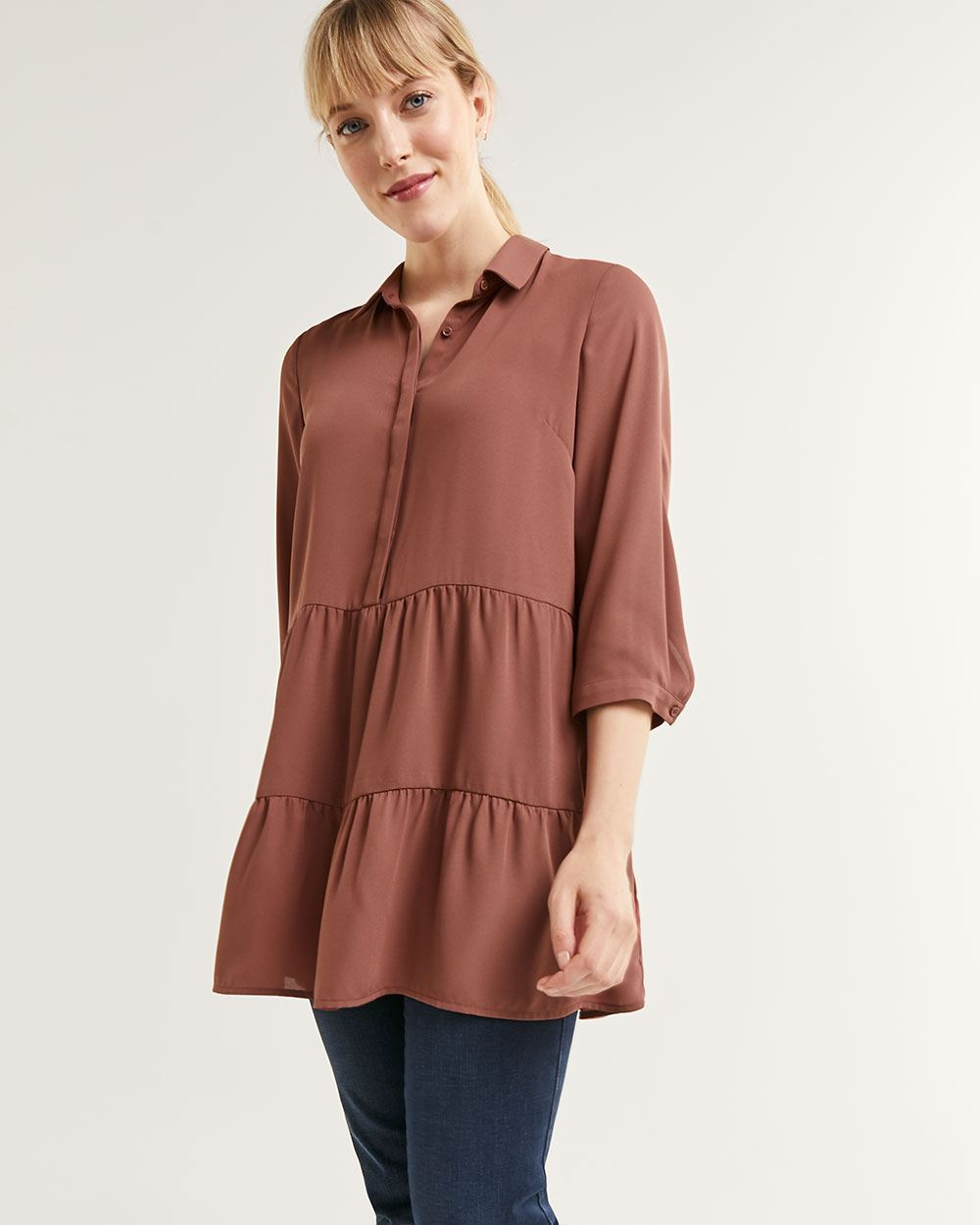3/4 Sleeve Shirt Collar Tiered Tunic