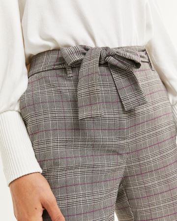 High Rise Tapered Glen Plaid Pants with Removable Sash