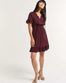 Split Neck Dress with Smocking Details