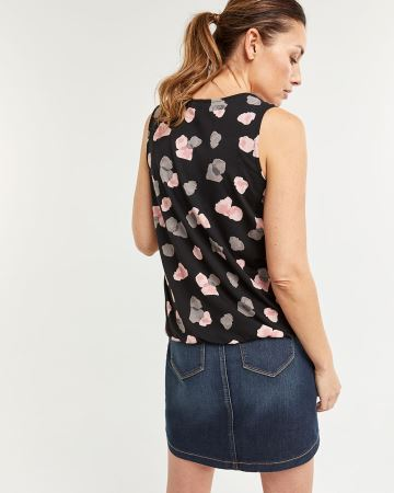 Sleeveless Printed Top with Decorative Buttons