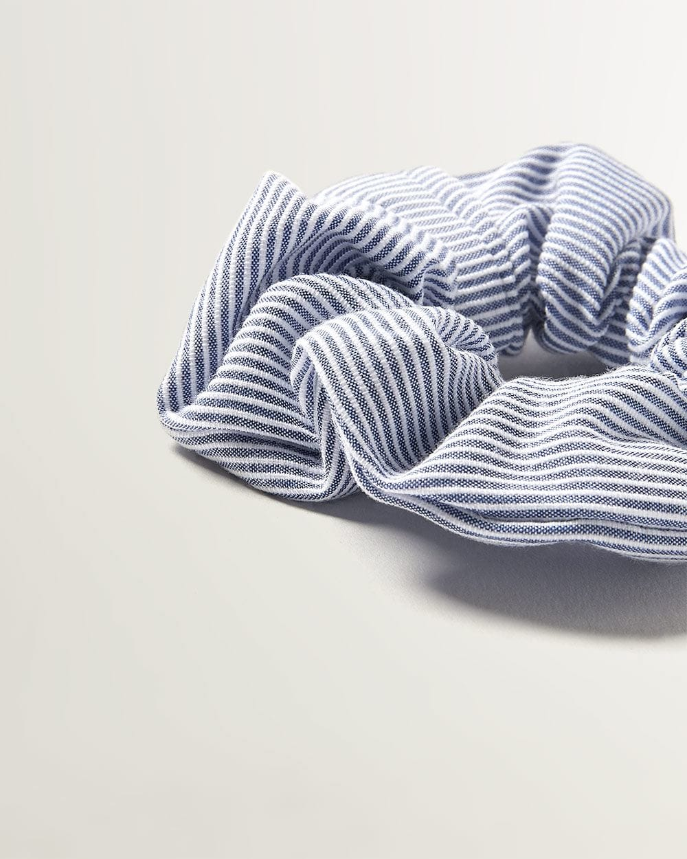 White and Blue Striped Scrunchie