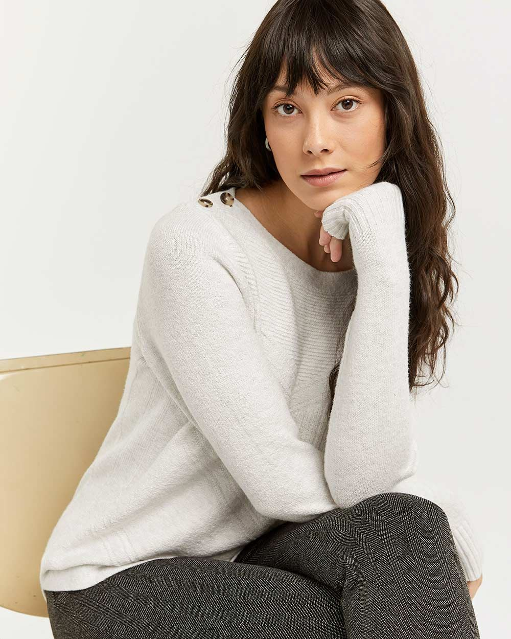 Boat Neck Sweater with Buttons at Shoulders