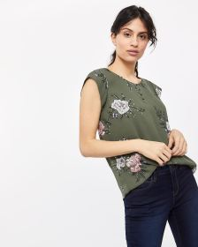 Cap Sleeve Buttoned Blouse