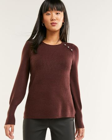 Long Sleeve Sweater with Decorative Buttons