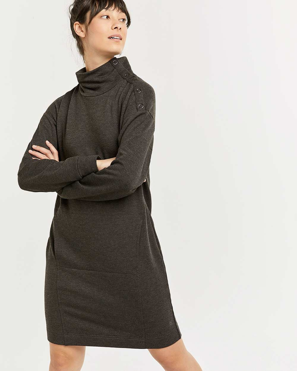 Hyba Mock Neck Fleece Dress with Snap Buttons